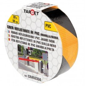 Cinta adhesiva reflectante PVC bicolor amarilla-negra