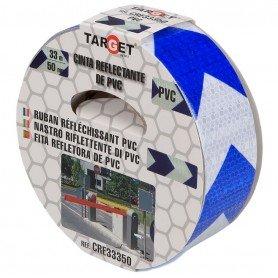 Cinta adhesiva reflectante PVC bicolor flechas blanco-azul