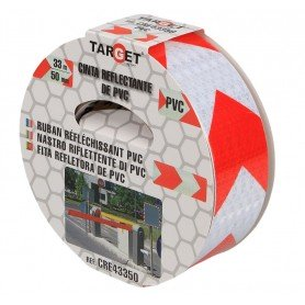 Cinta adhesiva reflectante PVC bicolor flechas blanca-roja