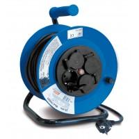 Enrollador eléctrico Tayg extensible 50m 7000W soporte y carrete metálico IP44
