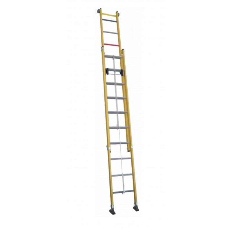 Escalera scal doble de extensi n a cuerda todo fibra trf2c for Escaleras fibra