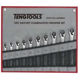 Juego de llaves combinadas con carraca reversible 10 piezas TengTools