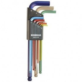 Set llaves allen largas punta bola Bondhus 9 piezas colores