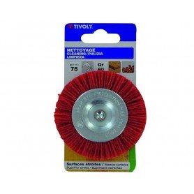 Cepillo nylon rojo circular tivoly para taladro